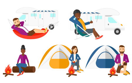 Man lying in hammock in front of motor home. Man resting in hammock and enjoying vacation in motor home. Man travelling by motor home. Set of vector flat design illustrations isolated on background. Illustration