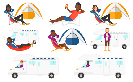 Young man driving a motor home. Man lying in hammock in front of motor home. Man with folded arms standing in front of motor home. Set of vector flat design illustrations isolated on white background. Illustration