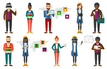 Man holding tablet computer with social network user profile. Man standing on background of map with avatars of social network. Set of vector flat design illustrations isolated on white background. Çizim