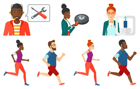 armband: Man running with earphones and armband for smartphone. Running man listening to music on smartphone. Man running with smartphone. Set of vector flat design illustrations isolated on white background.