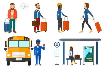 phobia: Hipster man frightened by future flight on airplane. Young man suffering from fear of flying. Phobia and fear of flying concept. Set of vector flat design illustrations isolated on white background. Illustration