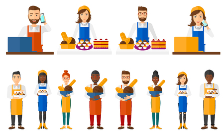 Baker offering different pastry. Baker standing at the counter with bakery products. Bakery owner holding basket with bread. Set of vector flat design illustrations isolated on white background.