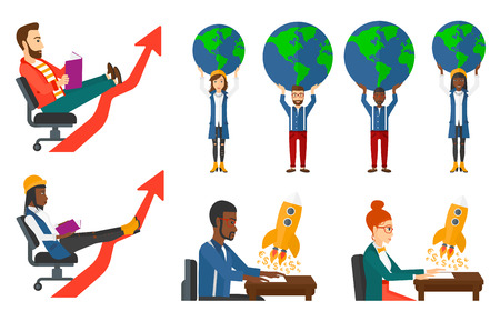 businessman carrying a globe: Businessman holding a big globe over his head. Businessman carrying globe on his outstretched hands. Concept of global business. Set of vector flat design illustrations isolated on white background.