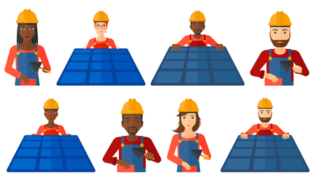 checking: Technician installing solar panels. Technician in inuform and hard hat checking solar panels. Bricklayer working with spatula. Set of vector flat design illustrations isolated on white background. Illustration