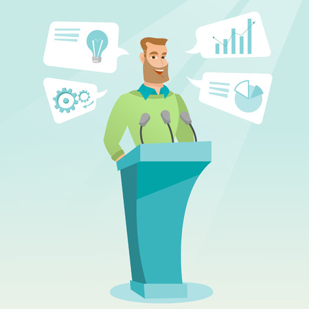 Caucasian happy speaker giving speech at podium with microphones at business conference. Smilig speaker giving a speech at podium at business seminar. Vector flat design illustration. Square layout. Ilustração