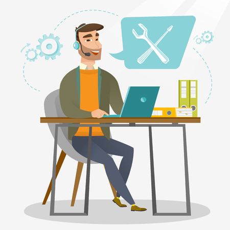 technical assistant: Caucasian professional operator of technical support working on computer. Hipster operator of technical support at work. Concept of technical support. Vector flat design illustration. Square layout. Illustration