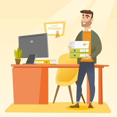 pile of documents: Caucasian happy hipster office worker holding pile of folders in office. Smiling office worker with documents. Joyful office worker standing in office. Vector flat design illustration. Square layout.