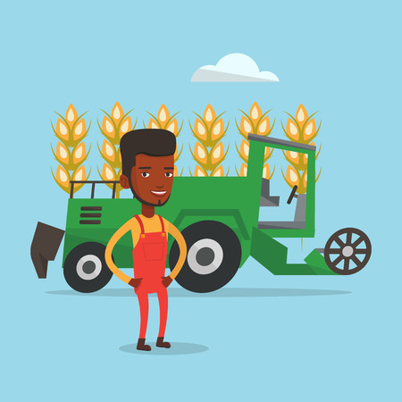 African-american farmer standing on the background of combine harvesting wheat in field. Combine harvesting wheat. Farmer supervising harvesting works. Vector flat design illustration. Square layout.