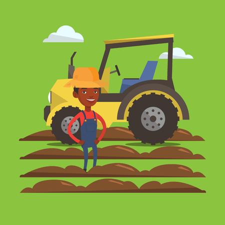 트랙터와 보았다고 필드의 배경에 여름 모자 서있는 아프리카 계 미국인 농부. 젊은 행복 농부와 재배 필드에 트랙터. 벡터 평면 디자인 일러스트 레이 일러스트