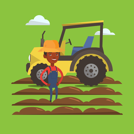 happy farmer: An african-american farmer in summer hat standing on the background of tractor and plowed field. Young happy farmer and tractor on cultivated field. Vector flat design illustration. Square layout.