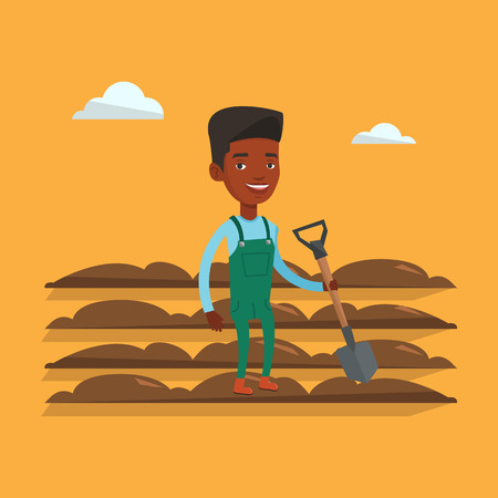 plow: An african farmer standing with shovel on the background of plowed field. Farmer using shovel for plowing a field. Man holding shovel on plowed field. Vector flat design illustration. Square layout.