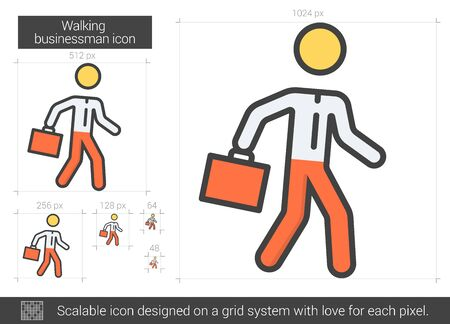educated: Walking businessman vector line icon isolated on white background. Walking businessman line icon for infographic, website or app. Scalable icon designed on a grid system.