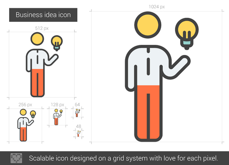 Business idea vector line icon isolated on white background. Business idea line icon for infographic, website or app. Scalable icon designed on a grid system. Ilustracja