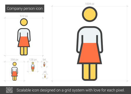 Company person vector line icon isolated on white background. Company person line icon for infographic, website or app. Scalable icon designed on a grid system. Çizim