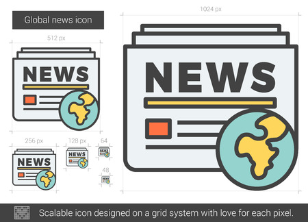 broadsheet: Global news vector line icon isolated on white background. Global news line icon for infographic, website or app. Scalable icon designed on a grid system.