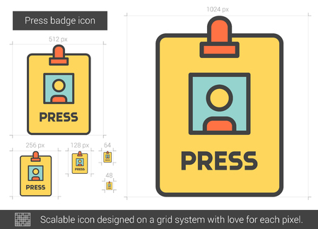 neckband: Press badge vector line icon isolated on white background. Press badge line icon for infographic, website or app. Scalable icon designed on a grid system.