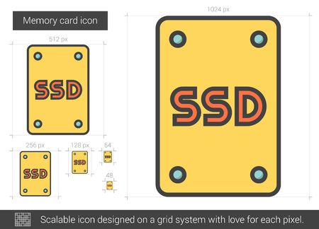 storage device: Memory card vector line icon isolated on white background. Memory card line icon for infographic, website or app. Scalable icon designed on a grid system.