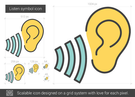 transmit: Listen symbol vector line icon isolated on white background. Listen symbol line icon for infographic, website or app. Scalable icon designed on a grid system.