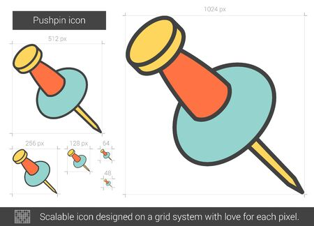 Pushpin vector line icon isolated on white background. Pushpin line icon for infographic, website or app. Scalable icon designed on a grid system. Illustration