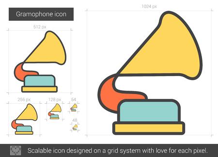 Gramophone vector lijn pictogram op een witte achtergrond. Gramophone lijn pictogram van infographic, website of app. Schaalbaar pictogram ontworpen op een grid-systeem.