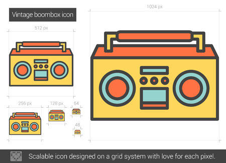 boombox: Vintage boombox vector line icon isolated on white background. Vintage boombox line icon for infographic, website or app. Scalable icon designed on a grid system.