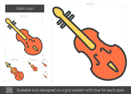 scalable: Violin vector line icon isolated on white background. Violin line icon for infographic, website or app. Scalable icon designed on a grid system.