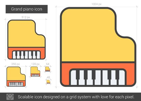 Grand piano vector line icon isolated on white background. Grand piano line icon for infographic, website or app. Scalable icon designed on a grid system. Illustration