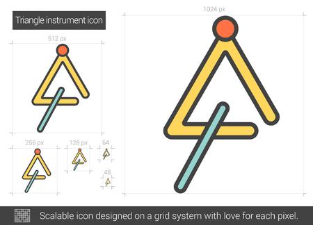 三角形楽器ベクトル線のアイコンが白い背景で隔離。インフォ グラフィック、ウェブサイトまたはアプリ スケーラブルなアイコンの三角形楽器線ア