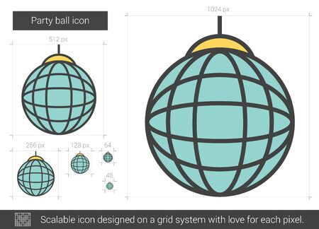 disco mirrorball: Party ball vector line icon isolated on white background. Party ball line icon for infographic, website or app. Scalable icon designed on a grid system.