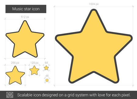 good judgment: Music star vector line icon isolated on white background. Music star line icon for infographic, website or app. Scalable icon designed on a grid system. Illustration