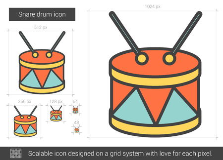 snare drum: Snare drum vector line icon isolated on white background. Snare drum line icon for infographic, website or app. Scalable icon designed on a grid system.