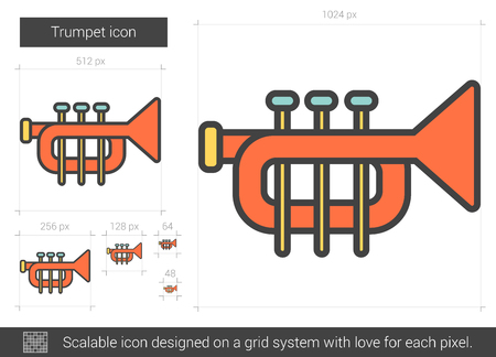 orchestral: Trumpet vector line icon isolated on white background. Trumpet line icon for infographic, website or app. Scalable icon designed on a grid system.