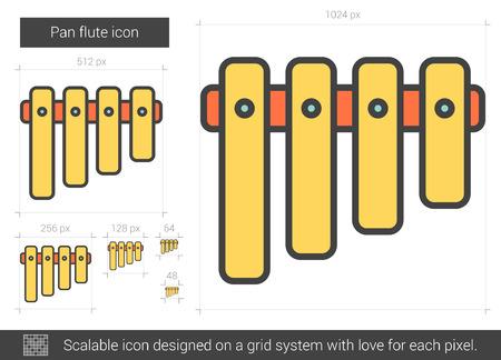 Pan icono de la línea de flauta del vector aislado en el fondo blanco. Pan icono de la línea de flauta de infografía, sitio web o aplicación. icono escalable diseñada en un sistema de red. Foto de archivo - 68428289