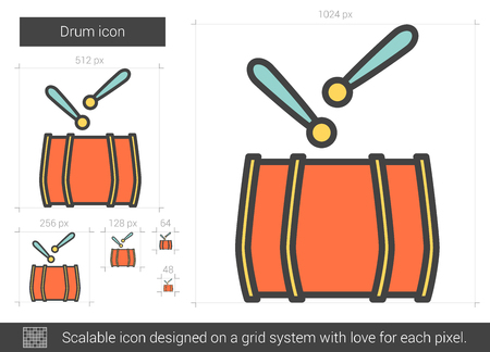 rhythm rhythmic: Drum vector line icon isolated on white background. Drum line icon for infographic, website or app. Scalable icon designed on a grid system.