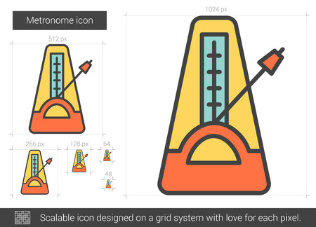 Metronome vector line icon isolated on white background. Metronome line icon for infographic, website or app. Scalable icon designed on a grid system. Illustration