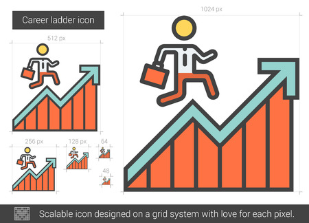 Career ladder vector line icon isolated on white background. Career ladder line icon for infographic, website or app. Scalable icon designed on a grid system. Illustration