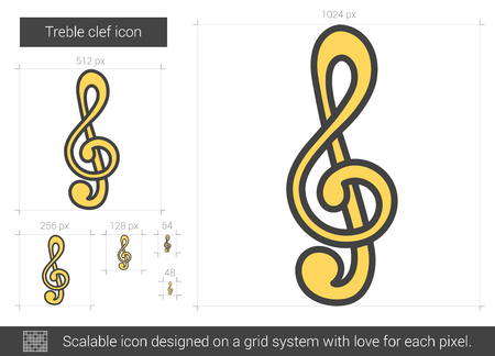 g clef: Treble clef vector line icon isolated on white background. Treble clef line icon for infographic, website or app. Scalable icon designed on a grid system. Illustration