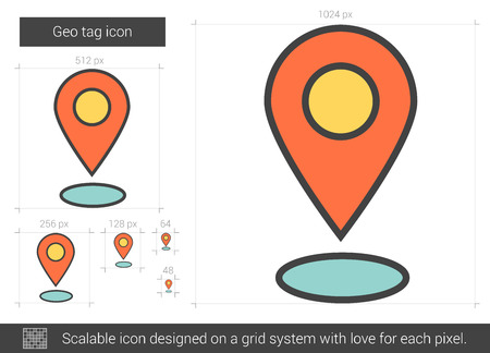 Geo tag vector line icon isolated on white background. Geo tag line icon for infographic, website or app. Scalable icon designed on a grid system. Illustration