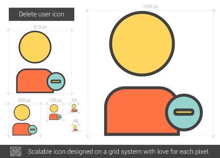 Borrar usuario icono de la línea vector aislado en el fondo blanco. Eliminar icono de línea de usuario para la infografía, sitio web o aplicación. icono escalable diseñada en un sistema de red. Foto de archivo - 68481909