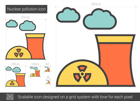 Nuclear pollution vector line icon isolated on white background. Nuclear pollution line icon for infographic, website or app. Scalable icon designed on a grid system.