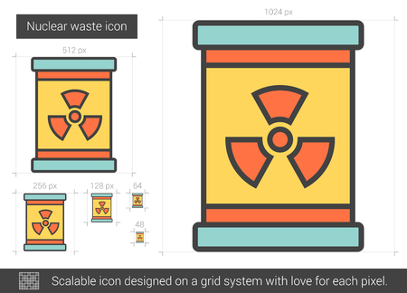 Nuclear waste vector line icon isolated on white background. Nuclear waste line icon for infographic, website or app. Scalable icon designed on a grid system.