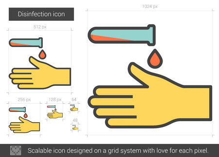 Disinfection vector line icon isolated on white background. Disinfection line icon for infographic, website or app. Scalable icon designed on a grid system.  イラスト・ベクター素材