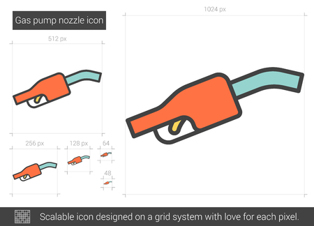 Gas pump nozzle vector line icon isolated on white background. Gas pump nozzle line icon for infographic, website or app. Scalable icon designed on a grid system. Vectores