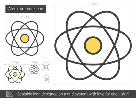 Atom structure vector line icon isolated on white background. Atom structure line icon for infographic, website or app. Scalable icon designed on a grid system. Illusztráció