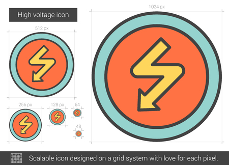 High voltage vector line icon isolated on white background. High voltage line icon for infographic, website or app. Scalable icon designed on a grid system. Ilustração