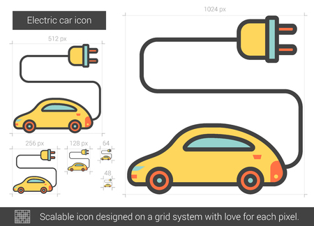 Electric car vector line icon isolated on white background. Electric car line icon for infographic, website or app. Scalable icon designed on a grid system.