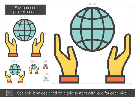 Environment protection vector line icon isolated on white background. Environment protection line icon for infographic, website or app. Scalable icon designed on a grid system. Иллюстрация