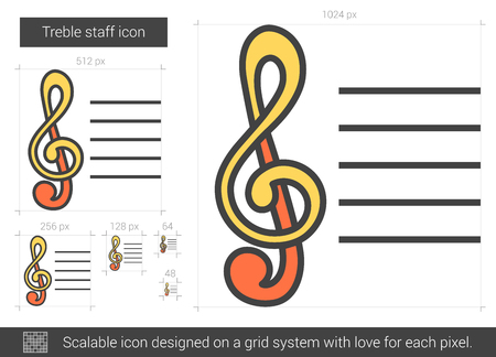 Treble staff vector line icon isolated on white background. Treble staff line icon for infographic, website or app. Scalable icon designed on a grid system. Illustration