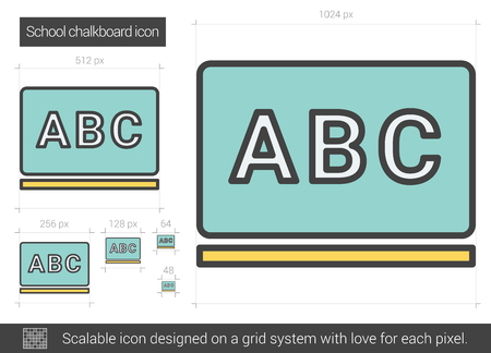 School chalkboard vector line icon isolated on white background. School chalkboard line icon for infographic, website or app. Scalable icon designed on a grid system. Ilustração