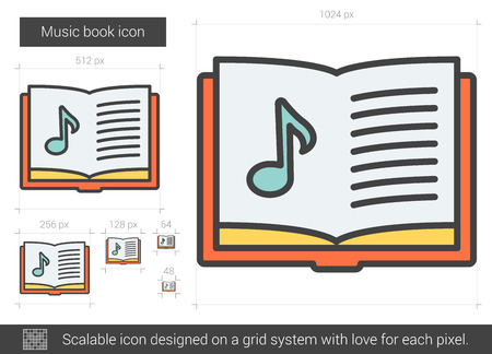 Music book vector line icon isolated on white background. Music book line icon for infographic, website or app. Scalable icon designed on a grid system. Illustration